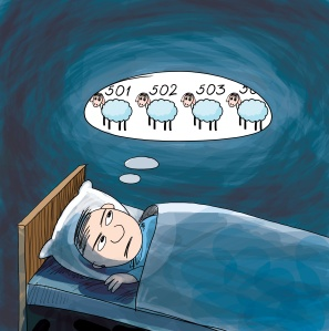 Insomnia. Man counting sheep. Cartoon illustration.